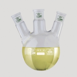 Round bottom flasks with three necks, NS joints, angled arms, borosilicate glass 3.3