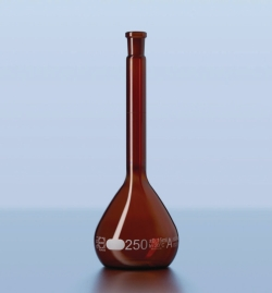 Volumetric flask DURAN®, amber glass, class A, white graduated