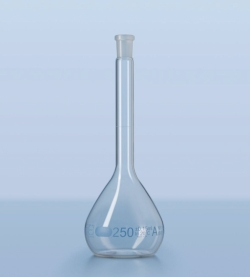 Volumetric flask DURAN®, class A, blue graduated, incl. batch certificate
