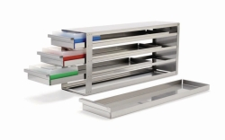 Racks with Sliders, for cryo boxes, stainless steel