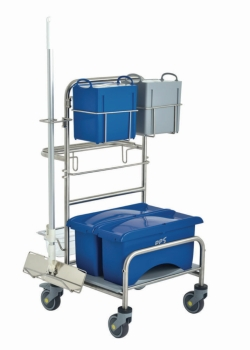 Cleaning trolleys Clino® CR4 EM-CR, stainless steel