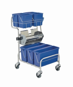 Cleaning trolleys Clino® CR6 FP with flat wringer, stainless steel