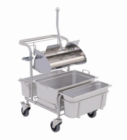 Cleaning trolleys Clino® CR1 FP-GMP / Clino® CR3 FP-GMP with flat wringer Ringo GMP®, stainless steel