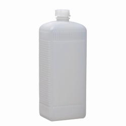 Narrow-mouth square bottles, HDPE, with screw cap, LDPE, transparent