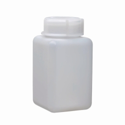 Wide-mouth square bottles, HDPE, with screw cap, LDPE, transparent