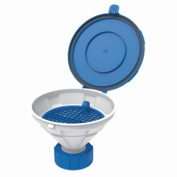 Safety funnels with hinged lid, V2.0, white/blue, HDPE