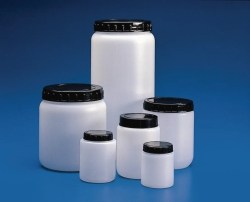 Cylindrical jars with ribbed cap, HDPE