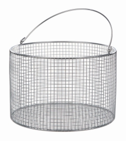Wire baskets with handle, round, stainless steel