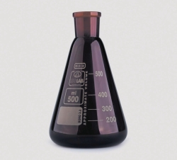 Erlenmeyer flasks, NS neck, borosilicate glass 3.3, amber