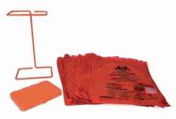 Benchtop holder and biohazard bags set