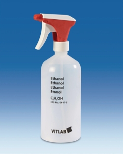 Spray bottle, with safety imprint