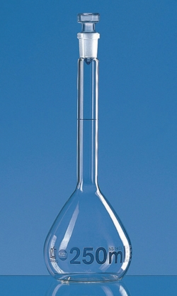 Volumetric Flasks, Borosilicate Glass 3.3, Class A, Blue Graduations, with Glass Stoppers