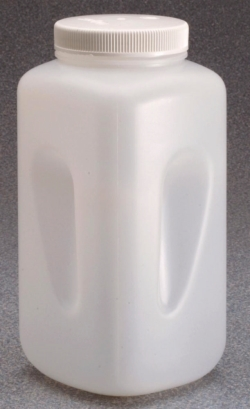 Square bottles, wide mouth Nalgene™, HDPE, with closure, PP