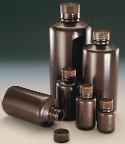 Narrow-mouth bottles Economy, Type DS2085, PE-HD, brown, with screw cap, PP