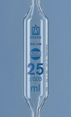 Volumetric Pipettes, AR-glass®, Class AS, 1 mark, Blue Graduation, with Individual Certificate