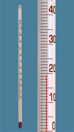 Simple type thermometer, solid stem, red filling