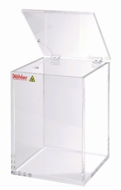Beta-waste containers, clear acrylic