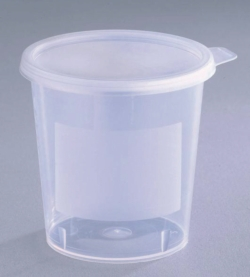 Jars, conical, with snap lid, PP