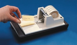 Adhesive tape for label protection, PES and Tape dispenser, ABS
