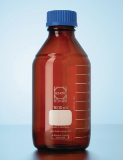 Laboratory bottle, DURAN® amber glass, with screw cap and pouring