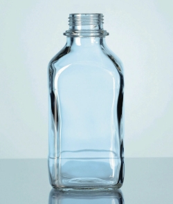 Narrow-mouth square bottles, soda-lime glass, with screw cap