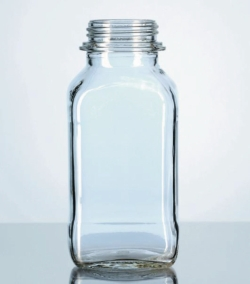 Square, screw cap bottles, wide-mouth, soda-lime glass