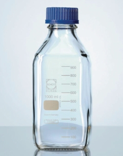Square shape laboratory bottles, DURAN®, with retrace code