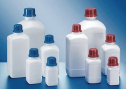 Square reagent bottles, PE-HD