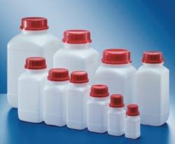 Square reagent bottles, HDPE