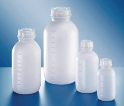 Medium neck bottles, series 307, HDPE with screw cap, PP