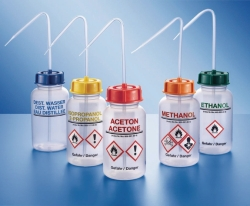 Safety wash bottles, wide mouth, series 303, PE-LD