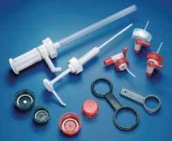 Screw caps and accessories for industrial jerrycans, HDPE