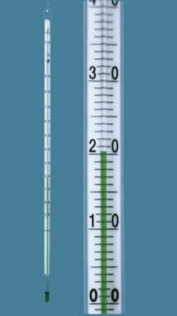 General-purpose thermometer, enclosed-scale type, green spirit filling