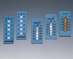Irreversible temperature strips