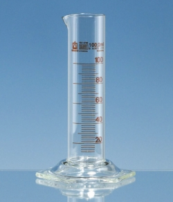 Measuring cylinders, Borosilicate glass 3.3, low form, class B, amber graduations