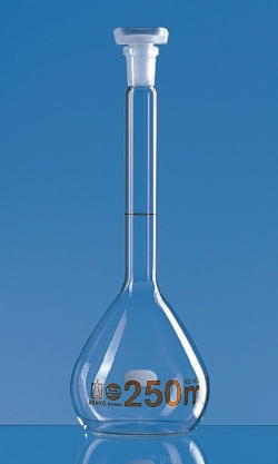 Volumetric flasks, borosilicate glass 3.3, class A, amber graduations, with PP stoppers, with DAkkS calibration certificate