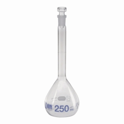 Volumetric flasks, DURAN®, class A, blue graduation, with hollow glass stopper