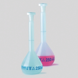 Volumetric flasks, plastic, class B, PE NS-stoppers