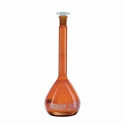Volumetric flasks, DURAN® amber glass, class A, with polystopper
