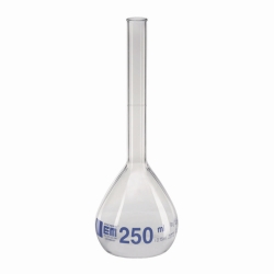 Volumetric flasks, DURAN®, with beaded rim, class A, blue graduation