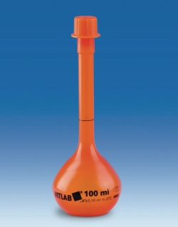 Volumetric flasks with screw cap of PMP, class A, opaque