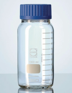 Wide-mouth bottles with GLS 80® neck, DURAN®, clear, with screw cap