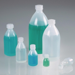 Narrow neck bottles bio, with screw cap, green LDPE