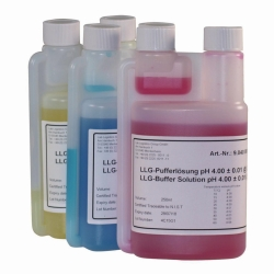 LLG-pH-Buffer solutions with colour coding in twin-neck dispensing bottles