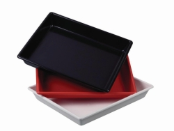 Photographic trays LaboPlast®, PVC, shallow form without ribs on bottom, profile shape rounded