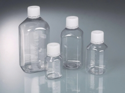 Laboratory bottle with tamper-proof closure, PET sterile
