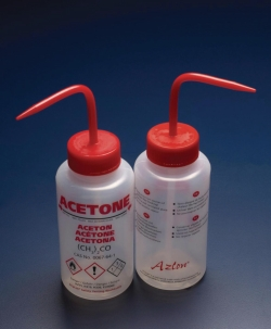 Safety venting wash bottles DripLok®, printed, wide mouth, LDPE
