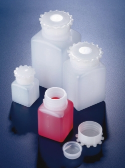 Wide-mouth square bottles with cap, HDPE