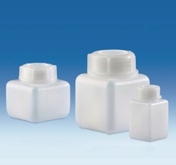Wide-mouth bottles, HDPE, with screw cap, PP