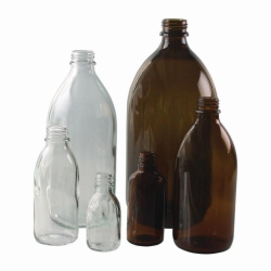 Narrow-mouth bottles, soda-lime glass